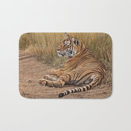 Ranthamboure Roadblock Tiger by Alan M Hunt Bath Mat