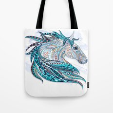 Blue Ethnic Horse Tote Bag