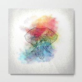 Watercolor Elephant Mandala Metal Print