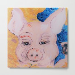 Blue Ribbon Pig Metal Print