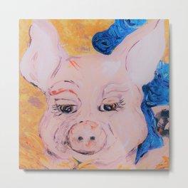 Blue Ribbon Pig Metal Print