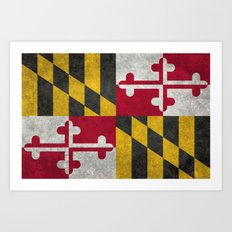 State flag of Flag of Maryland - Vintage retro style Art Print