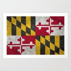State flag of Flag of Maryland, Vintage retro style Art Print