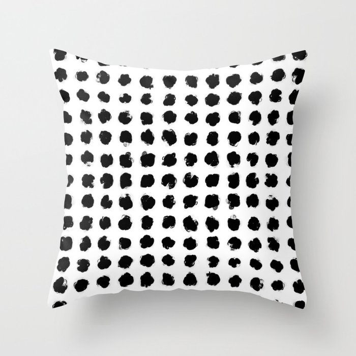 Black and White Minimal Minimalistic Polka Dots Brush Strokes Painting Throw Pillow