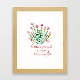 MERRY CACTUS Holiday Watercolor Framed Art Print