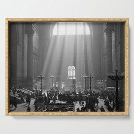 Penn Station, Rays of Light black and white photograph - black and white photography Serving Tray