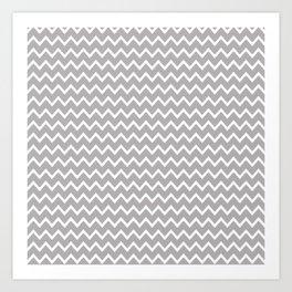 Grey Gray Chevron Art Print