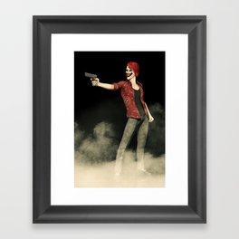 Killer Clown Pointing a Gun Artwork Framed Art Print
