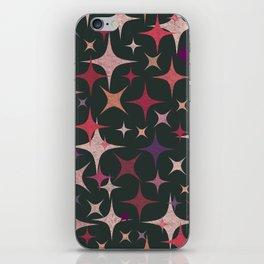 Purple, Red, Pink and White Stars in Dark Green iPhone Skin