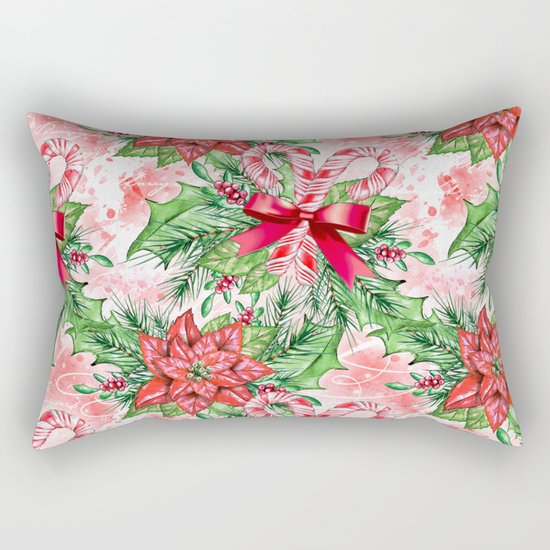 Poinsettia & Candy cane Rectangular Pillow