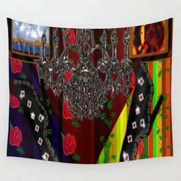 Black Boots in air by chandelier Wall Tapestry