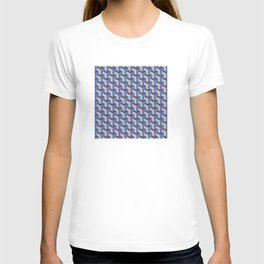 Cobalt Blue and Brown Geometric Marquetry Pattern T-shirt