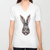 rabbit V-neck T-shirts featuring Rabbit by SilviaGancheva