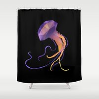 jelly fish Shower Curtains featuring Man of War - Jelly Fish. by Diana D'Achille