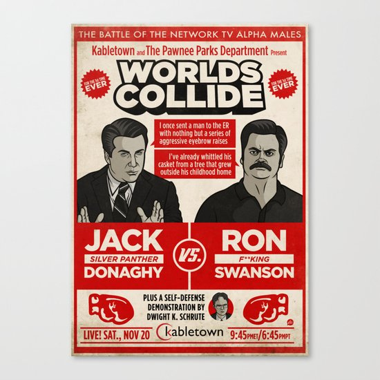 Jack Donaghy vs. Ron Swanson Fight Poster Canvas Print