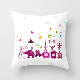 colorful circus carnival traveling in one row on white background Throw Pillow