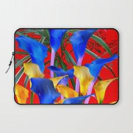 YELLOW & AZURE BLUE CALLA LILIES RED ART Laptop Sleeve