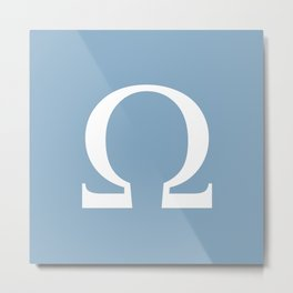 Greek letter Omega sign on placid blue background Metal Print