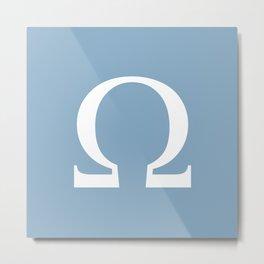 Greek letter Omega sign on placid blue background Metal Print
