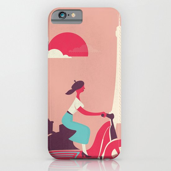 French girl on a Scooter iPhone & iPod Case
