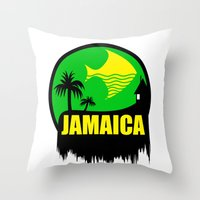 jamaica Throw Pillows featuring JAMAICA VACATION  by Robleedesigns