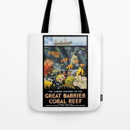 1933 Australia Great Barrier Coral Reef Travel Poster Tote Bag