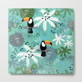 Turquoise Toucan Forest Metal Print