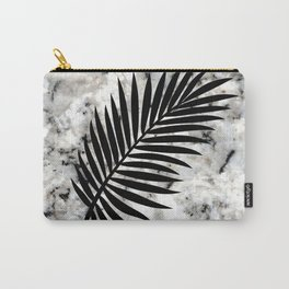 Tropical Leaves on Marble - Palm Carry-All Pouch