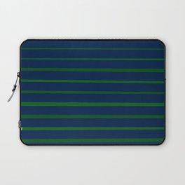Slate Blue and Emerald Green Stripes Laptop Sleeve