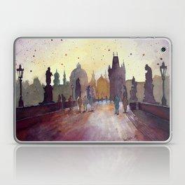 Prague, watercolor explorations in violet  Laptop & iPad Skin