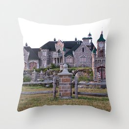 Stone Mansion on the River Throw Pillow