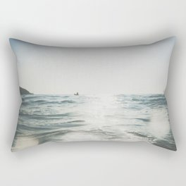 vintage style seascape with Paddle surfer, Rectangular Pillow