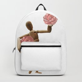 wooden mannequin in love Backpack