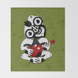 Black and Grey Hei Tiki playing a Ukulele Throw Blanket