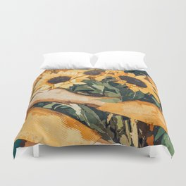 Holding Sunflowers #society6 #illustration #nature #painting Duvet Cover