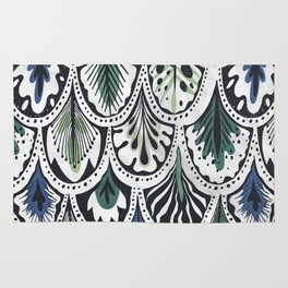 Blue and Green Feathers Rug