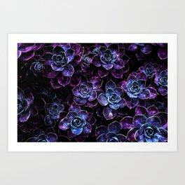 Sparkle Succulents Purple Blue Aqua Kunstdrucke