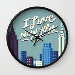 I Love New York Blue City Skyline Wall Clock