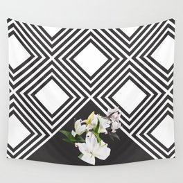Square tiling patterns & white flowers Wall Tapestry