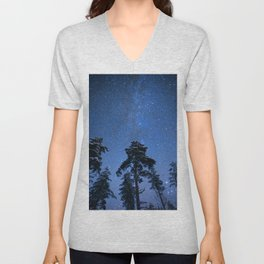 Shimmering Blue Night Sky Stars Unisex V-Neck