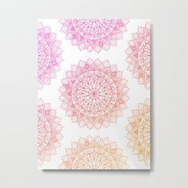 Pink & Orange Mandala Metal Print