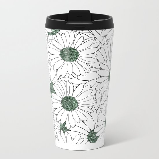 Daisy Mint Metal Travel Mug