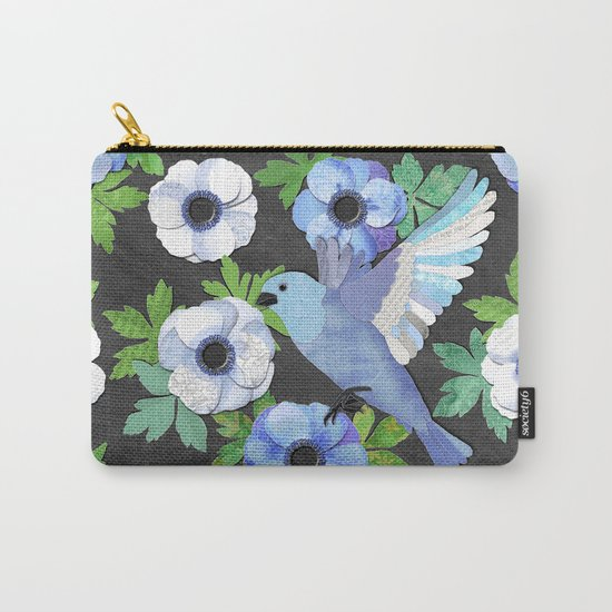 Blue Bird & Anemone Collage Carry-All Pouch