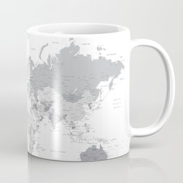 """Gray world map with cities, states and capitals, """"in the city"""" Coffee Mug"""