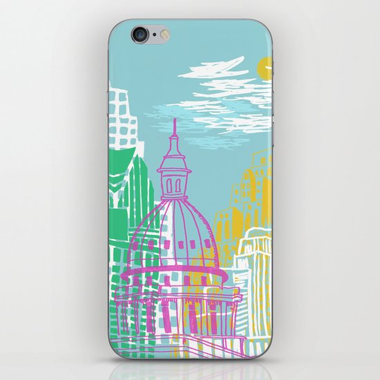 WPA Style Downtown (Detroit) Illustrated Print  iPhone & iPod Skin