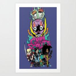 GRRL SCOUTS SKULL SHROOM Art Print