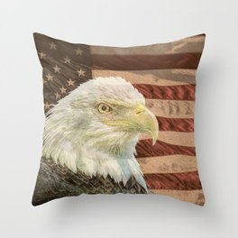 Rustic Bald Eagle on American Flag A213 Throw Pillow