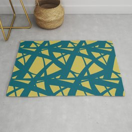 Tropical Dark Teal Abstract Mosaic Pattern 3 Inspired by Sherwin Williams 2020 Trending Color Oceanside SW6496 on Dark Yellow Rug