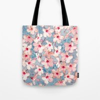 bedding Tote Bags featuring Shabby Chic Hibiscus Patchwork Pattern in Pink & Blue by micklyn