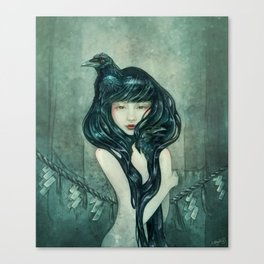 Oracle of the sodden raven Canvas Print